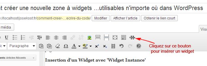 bouton puzzle widget instance 700x224 Comment créer une zone à widgets et afficher un widget WordPress dans un page