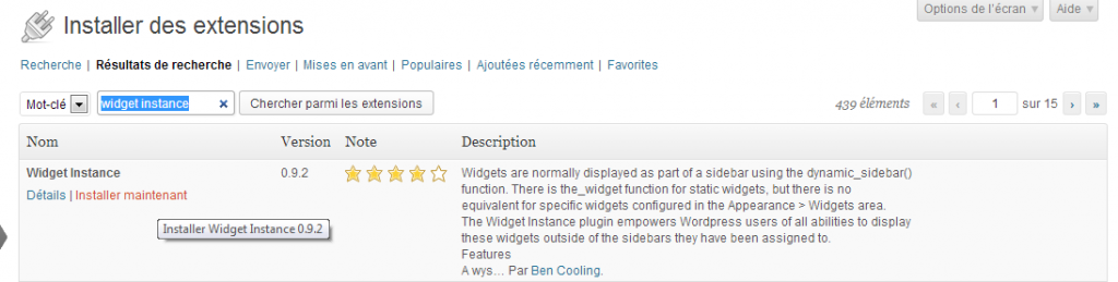 installer extension wordpress widget instance 1024x259 Comment créer une zone à widgets et afficher un widget WordPress dans un page