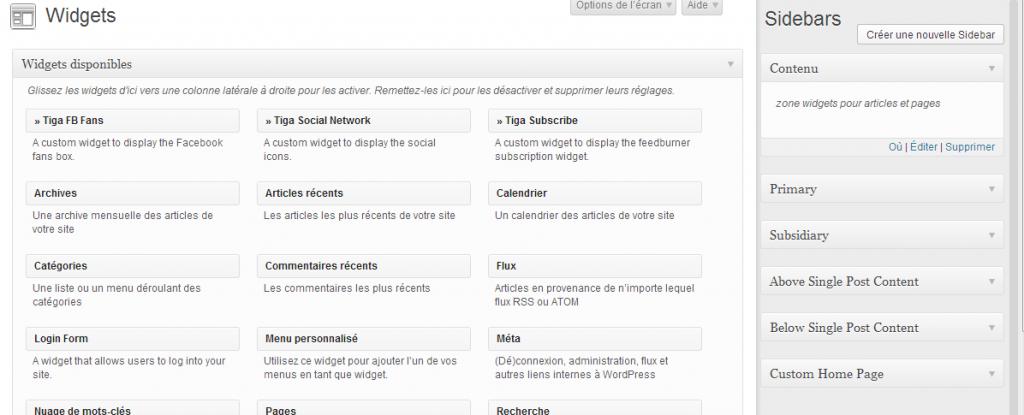 page widgets wordpress avec votre nouvelle sidebar 1024x415 Comment créer une zone à widgets et afficher un widget WordPress dans un page