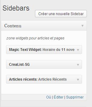 plusieurs widgets dans votre nouvelle sidebar Comment créer une zone à widgets et afficher un widget WordPress dans un page